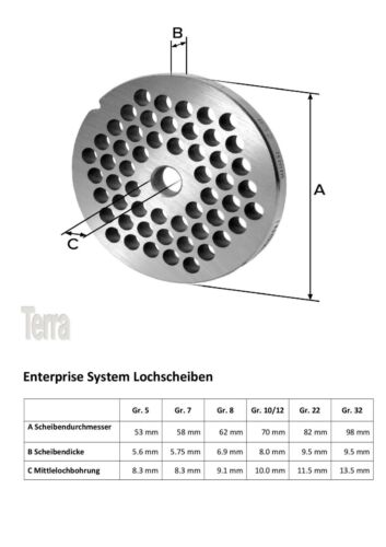 Lochscheibensatz Pour Hachoir à Viande Tailles 8//3mm+8mm et une croix Couteau plat