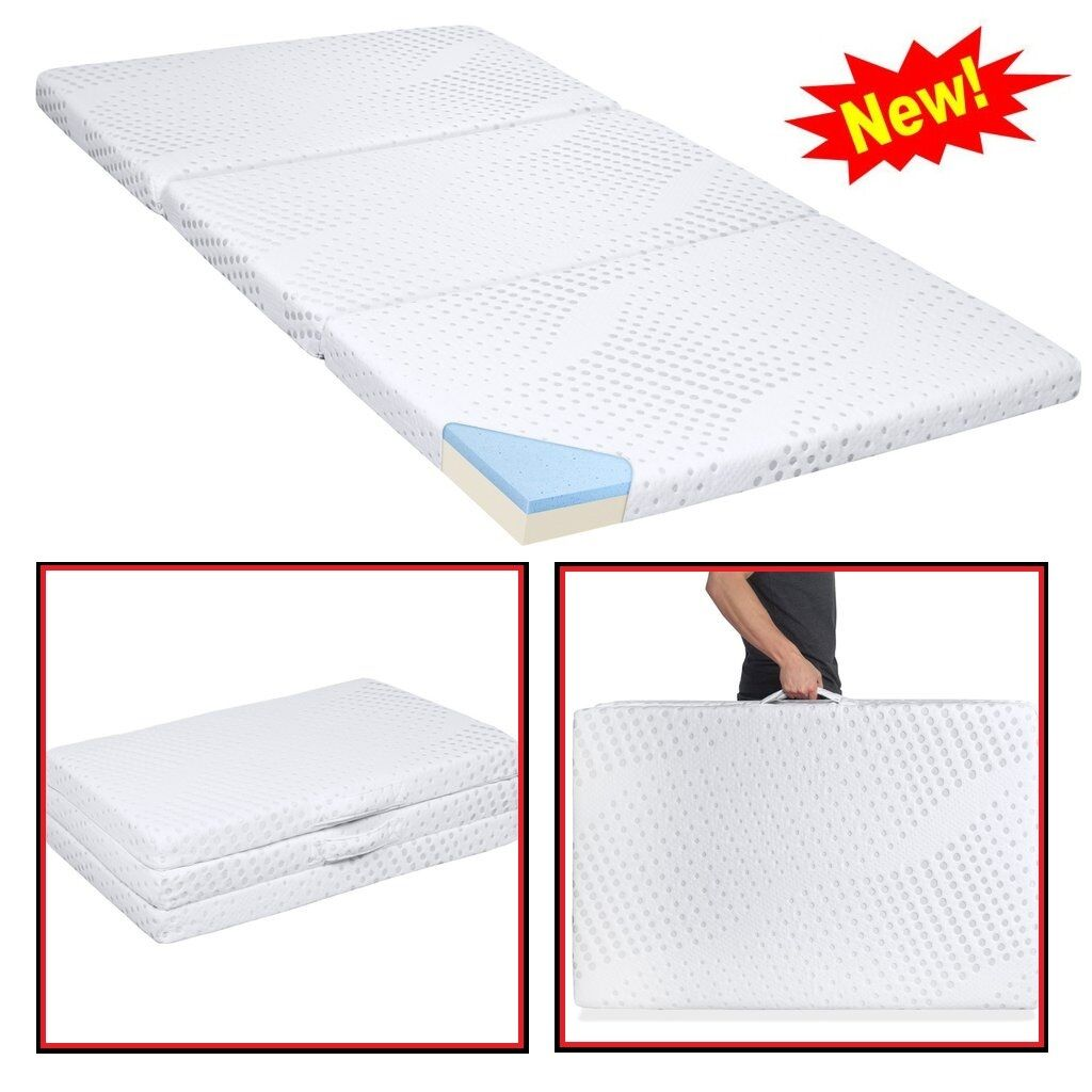 Tri Fold Gel Mattress Memory Foam Full Sleeping Pad Folding Camping Cushion Mat Ebay