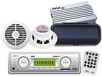 Brand Marine Boat Aux Usb Player Radio 2 Speakers + 200 Watt Amp & Cover Pkg on sale