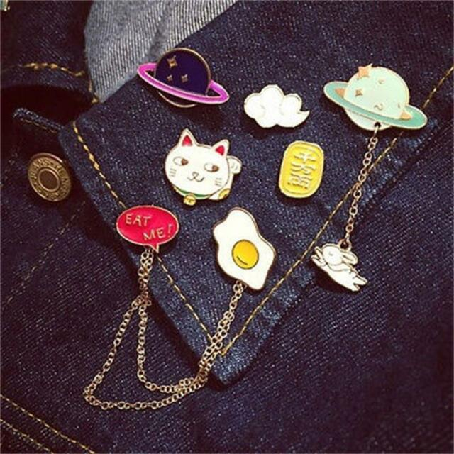 Fashion Lovely Cartoon Badge Collar Pin Corsage Brooch Creative Chain Jewelry