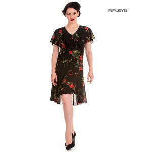 Hell-Bunny-20s-40s-Black-Flapper-Cocktail-Party-Dress-LILY-Floral-Black-All-Size