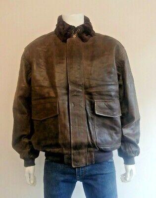 L. L. Bean 100% In Pelle Pelle Di Capra A-2 Stile Che Volano Giacca Shearling Colletto Xl-mostra Il Titolo Originale