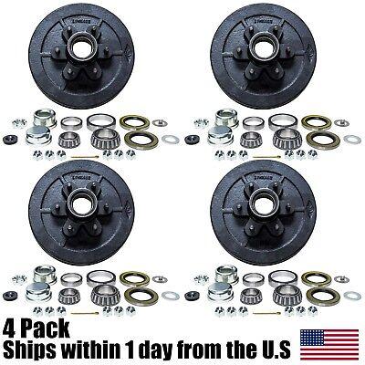 "Four 12/"" X 2/"" Trailer Brake Hub Drum Kit 6 on 5.5/"" for 5200-6000 lbs Axle 22003K"