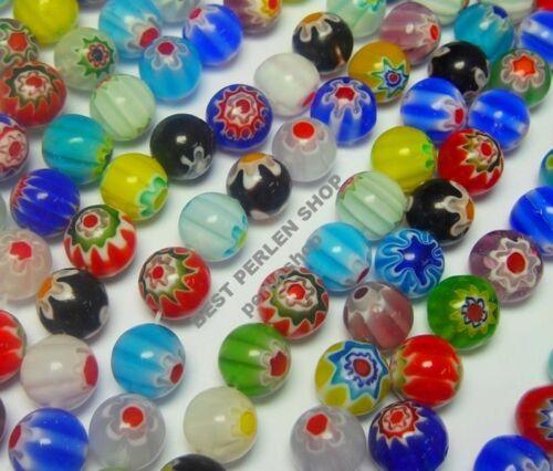 48 MILLEFIORI mix de perles de verre 8 mm Enfants Bijoux Perles Balle 1 Strang Best d7
