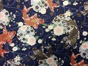 NT55-Koi-Fish-Japanese-Asian-Kimono-Print-Metallic-Gold-Cotton-Quilt-Fabric