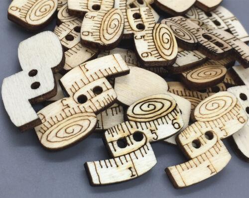 Nähen Series Maßband-Form Holz Nähen Knopf//Knöpfe dekorative scrapbooking 30mm