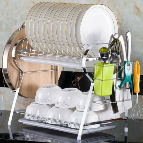 2 Tier Dish Plate Cup Drying Rack Organizer Drainer Storage Holder For