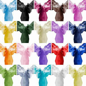 10 20 50 100 8 Quot X108 Quot Organza Chair Cover Sash Ribbons Bow
