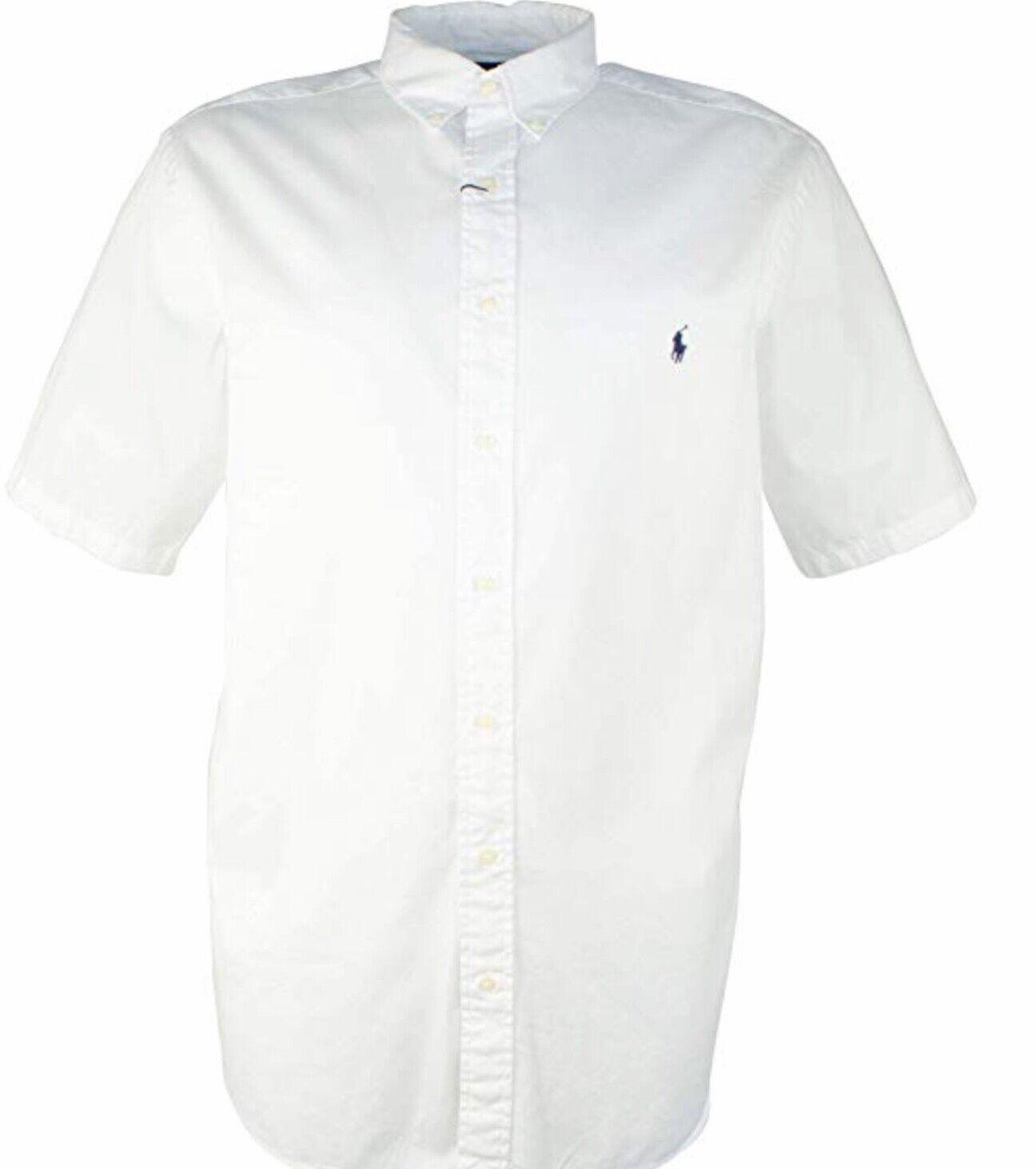 Ralph Lauren Mens short sleeve button up cotton shirt 3XB White NWT
