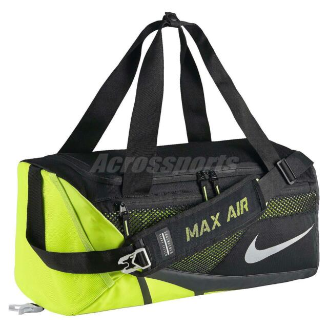 91a88bf3b7 Nike Vapor Max Air Duffel Training Gym Bag Sports Workout Black Volt  BA5249-010