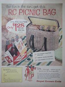 1958-Royal-Crown-RC-Cola-Bottles-Carton-Picnic-Basket-Offer-Color-Original-Ad
