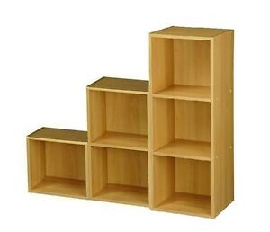 Image Is Loading Beech Wooden Cube Bookcase Square Step Cubes Unit