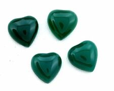 FOUR 10mm Heart Green Agate Cab Cabochon Gem Stone Gemstone CM85