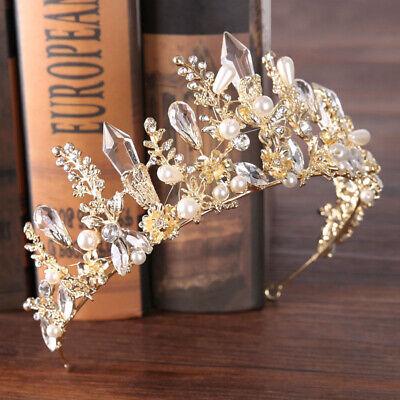 Baroque Ladies Embellished Headband Jewelled Hairband Crown Flower Tiara Prom