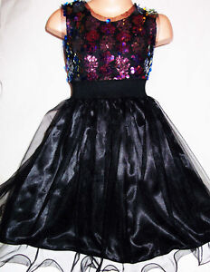 GIRLS 60s STYLE BLACK GOLD SPARKLY WAVY SEQUIN EVENING DANCE PARTY DRESS TOP