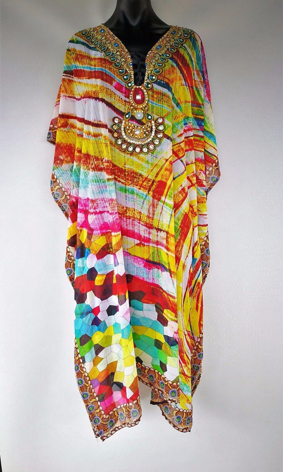 Plus Size Long Sheer Embellished Kaftan Digital Printed One Size 12-14-16-18