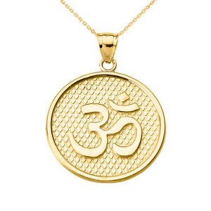 14k yellow gold omohm round disc pendant necklace yoga and image is loading 14k yellow gold om ohm round disc pendant aloadofball Gallery