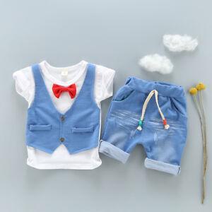 Toddler-baby-boys-clothing-Tee-amp-short-pants-2pcs-outfits-gentleman-party-suits