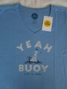 Darkest Blue Mens Crusher Tee Life is Good Yeah Buoy