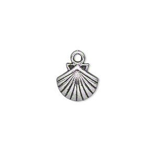 12 Antique Silver Plated Clam Shell Charms 15MM