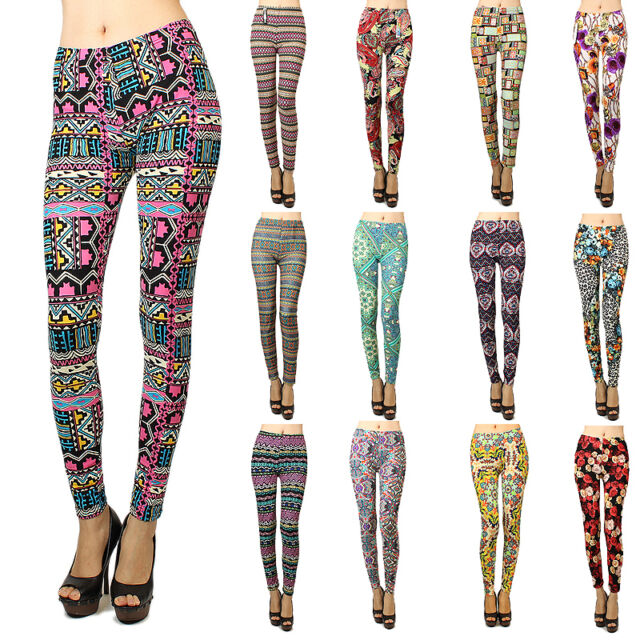 Women Skinny Colorful Print Leggings Stretchy Sexy Jeggings Pencil Pants