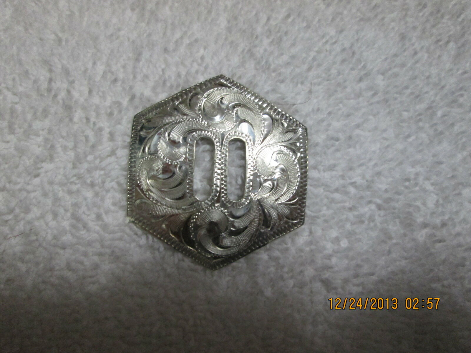 Hexagon Sterling Overlay Conchos 1 12 slotted 2 of them