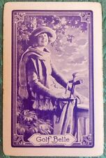 """""""GOLF BELLE"""" PRETTY YOUNG LADY GOLFER-PURPLE-VINTAGE NN NAMED SWAP PLAYING CARD"""