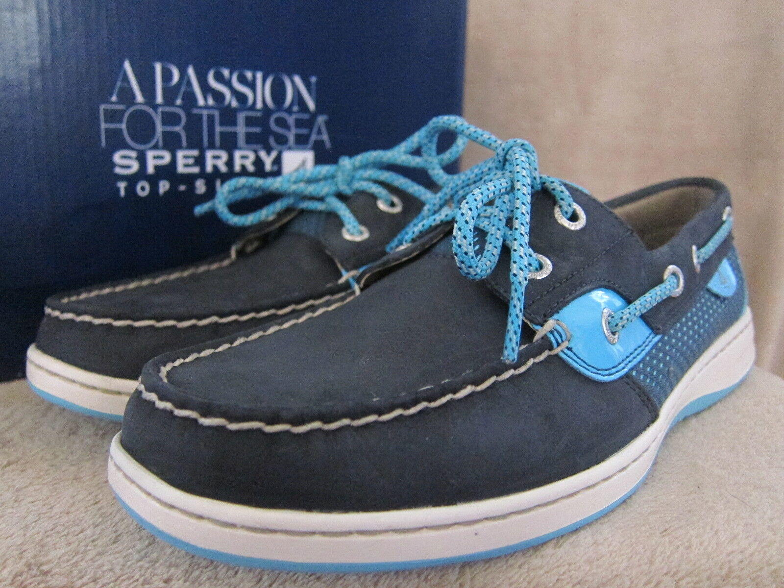 SPERRY Top Sider Loafer blufish Navy & Turquoise Loafer Sider Loafer Turquoise   a0a943