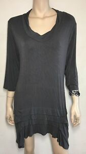 MORGAN-MARKS-designer-grey-pleat-hem-stretch-tunic-size-12-14-F11