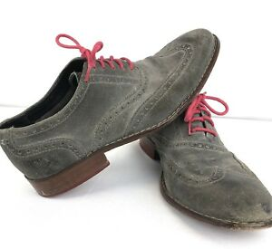Cole Haan Gray Red Laces Suede Wingtip