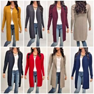 Womens-Long-Sleeve-Open-Front-Knit-Cardigan-Sweater-S-XL-USA-Seller