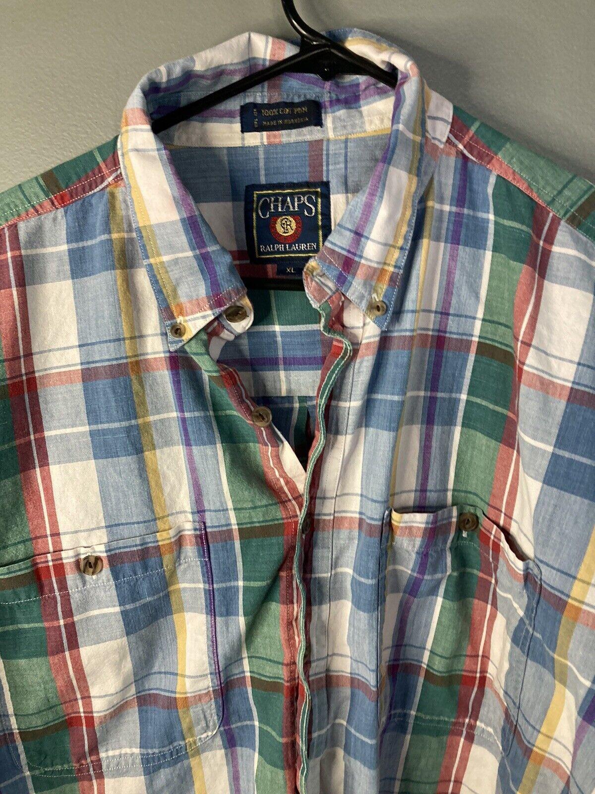 Vtg 80s 90s Chaps Ralph Lauren Mens XL Short Slee… - image 2