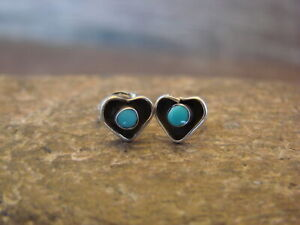 Small-Zuni-Indian-Jewelry-Sterling-Silver-Turquoise-Heart-Post-Earrings
