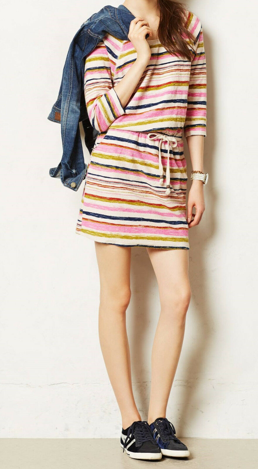 Saturday Sunday Spectrum Stripe Tunic Dress Size Medium NW ANTHROPOLOGIE Tag