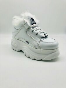 save off 8826f 5706f Details zu Buffalo London Classic Boots Shoe Plateau 90s Weiß Gefüttert  Fell Echtleder LACK