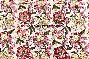 5-Yard-Floral-Print-Hand-Block-Print-Fabric-Indian-Handmade-Multi-Decor-Fabric