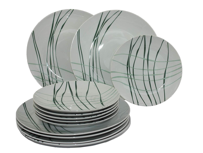 12 Pz. Servizio da Tavola Forrest Set Colazione e di Porcellana per 6p