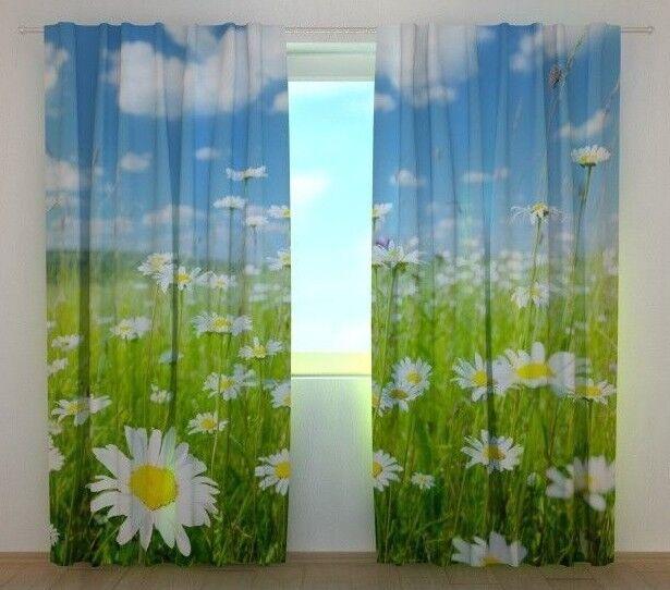 Cortina Manzanilla campo wellmira Personalizado Impreso De Ventana 3D Motivo Floral