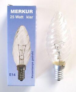 Kerzenbirne-gedreht-klar-25W-Gluehbirne-E14-Birne-Gluehlampe-Kerze-Licht-ampoule