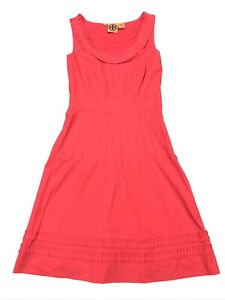 Tory-Burch-Women-s-Sleeveless-Dress-Frills-Pleated-Pink-Red-Size-2