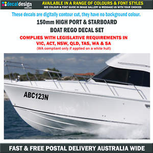 Image is loading Boat-Registration-Decals-150mm-High-Rego-Number-Stickers-