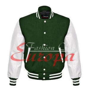Letterman College American Unisex Varsity Jacket Wool body /& White Real Leather