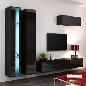 Details zu Moderne praktische Mediawand TV-wand Lucas New 1 Schrankwand  Hängwand Hochglanz
