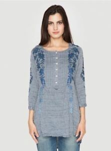 NEW-Johnny-Was-3J-Workshop-Embroidered-Leonie-Pintuck-Peasant-Tunic-Top-Blouse-S