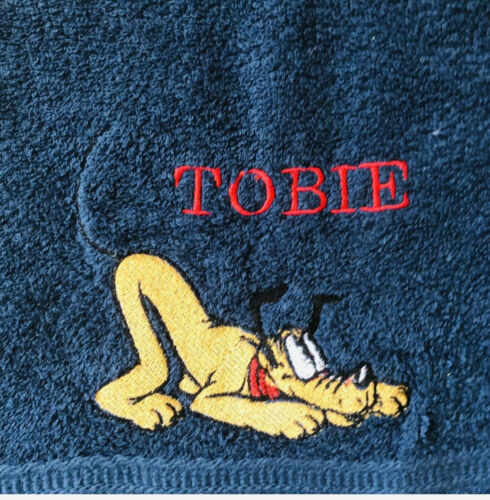 Hand Bath Towels gift colour choice Personalised Pluto Mickey Mouse  Face