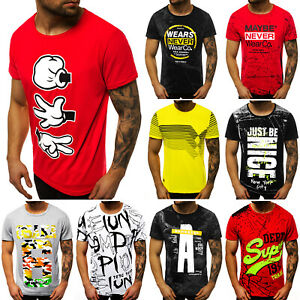 T-Shirt Kurzarm Print Aufdruck Fitness Jogging Sport Shirt Herren OZONEE 12511