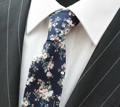 Tie Cravatta Slim Blu Navy Bianco Rosa Floreale Cotone Di Alta Qualità T6003-mostra Il Titolo Originale I Clienti Prima Di Tutto