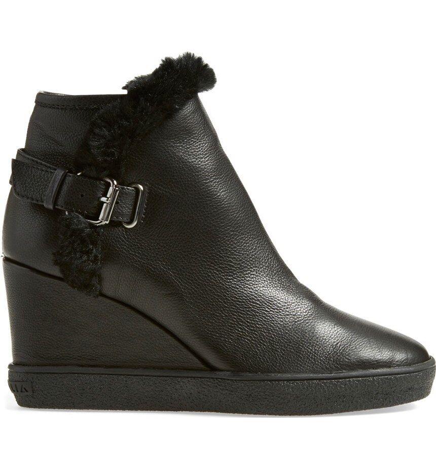 Aquatalia Cameron Weatherproof Leather Faux Fur Trim Wedge Booties sz US 12 new