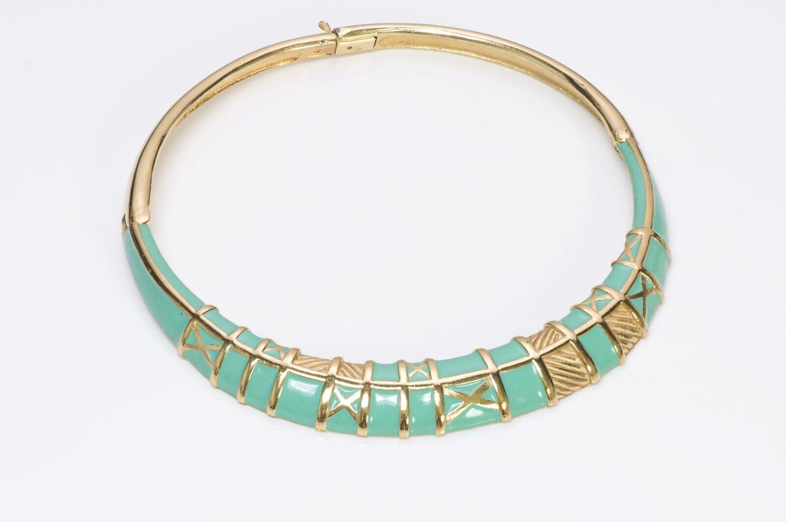 LANVIN Paris 1970's Green Enamel Choker Necklace - image 2