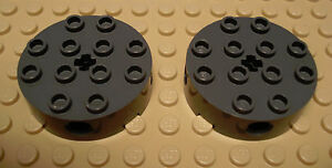 Castle wheels Lego Brown 4x4 Round Brick w//4 Side Pin Holes /& Center Axle Hole